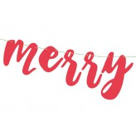 Baner Merry Xmas, czerwony, 15x120cm