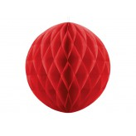 Kula bibułowa, czerwony, 20cm