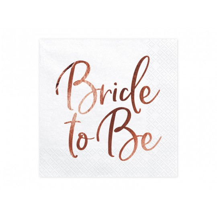 Serwetki Bride to Be, różowe złoto, 33x33cm (1 op. / 20 szt.)