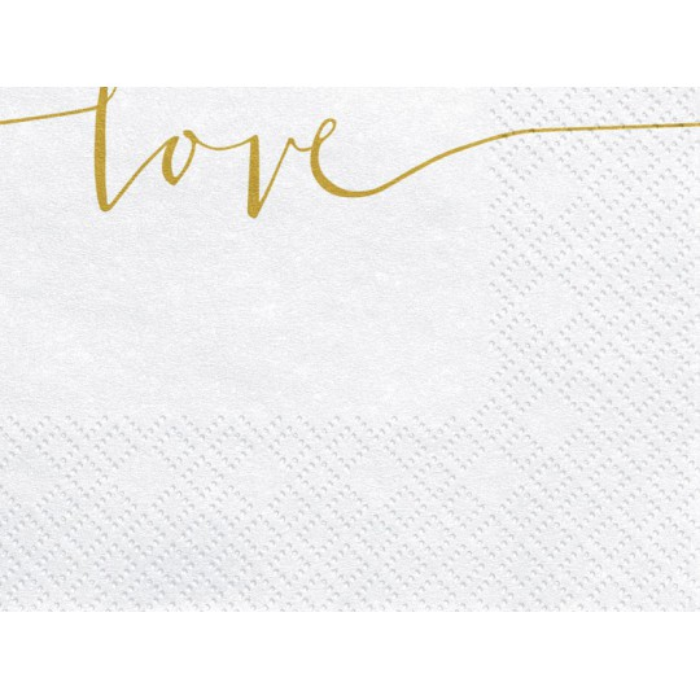 Serwetki Love, złoty, 33x33cm (1 op. / 20 szt.)