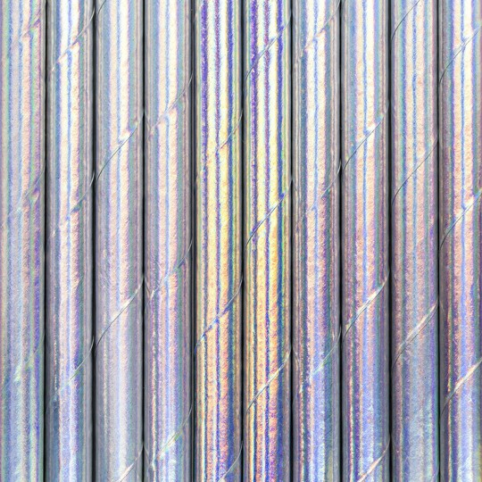 Słomki papierowe, opalizujący, 19,5cm (1 op. / 10 szt.)