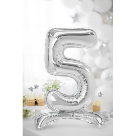 Świeczka urodzinowa Cyferka 2, srebrny, 7cm