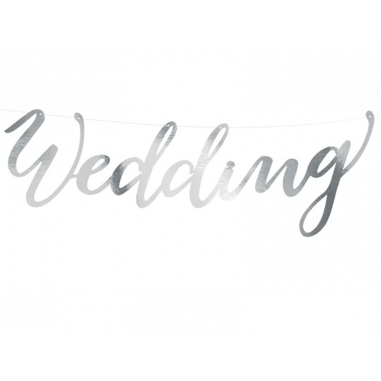 Baner Wedding, srebrny, 16,5x45cm