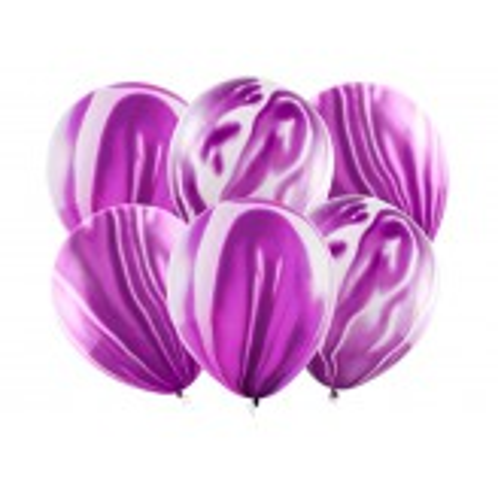 Balony Marmur 30cm, fioletowy (1 op. / 6 szt.)