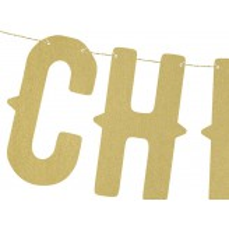Baner Cheers, złoty, 12,5 x 50cm
