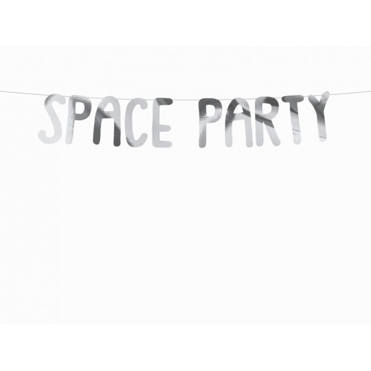 Baner Kosmos -  Space Party, srebrny, 13x96cm