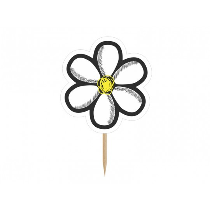 Karteczki na piku Kwiatek, 10cm, mix